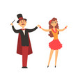 Magician and his assistant girl standing with vector image