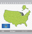 michigan flag and map vector image