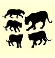 puma and panther animal silhouette vector image