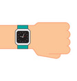 smart watch on hand on white background vector image