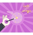 Magician hand white glove holding magic wand show vector image vector image