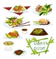 Chinese cuisine dishes for restaurant menu design vector image
