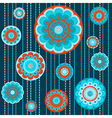 Abstract flowers in orange and turquoise vector image