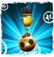 Gold football trophy and crown behind flash EPS8 vector image