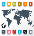 World Map with Paper Colorful Arrows on Light vector image vector image