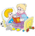 Granny and grandson reading vector image