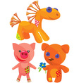 cute hand made soft toys vector image vector image