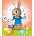 Easter bunny painting eggs vector image