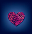 love heart line drawn over dark blue background vector image
