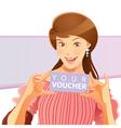 pretty girl holding voucher vector image