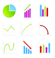 Set of 9 graph icon vector image vector image