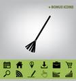 sweeping broom sign  black icon at gray vector image