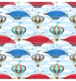 Seamless pattern with dirigibles and air balloons vector image