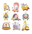 Animals And Transportation Fantasy Drawings Set vector image