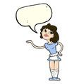cartoon waitress serving with speech bubble vector image
