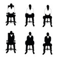 man silhouette siting on chair in black and white vector image