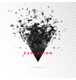shatter dark triangle abstract cloud of pieces vector image