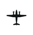 simple black propeller plane icon on white vector image