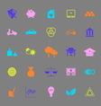 Sufficient economy color icons on gray background vector image