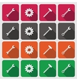 Tools icons set Cogwheel gear hammer wrench vector image