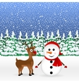 Snowman with reindeer and a standing vector image