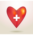 Red glossy shiny three-dimensional heart 3d on a vector image