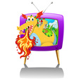 Television screen with dragon blowing fire vector image vector image