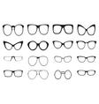 Eyeglasses silhouette set vector image