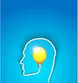 idea concept human face profile with bulb vector image