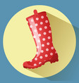 red classic gumboot with white dots pattern vector image