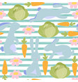 seamless little bunny pattern vector image