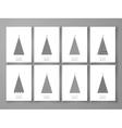 set christmas tree in line art03 vector image