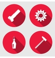 Tool icon set Cogwheel hammer wrench key bolt vector image