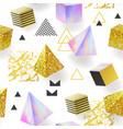 trendy golden glitter memphis seamless pattern vector image