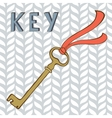 Vintage key with ribbon vector image