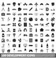 100 development icons set simple style vector image