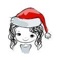 Santa girl portrait sketch for your design vector image vector image