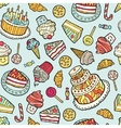 Seamless pattern with sweets on blue background vector image