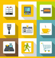 market service icons set flat style vector image