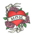 tattoo heart in rose flowers with ribbon vector image