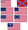 set of american flags vector image