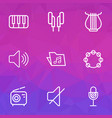audio outlines set collection of stringed vector image