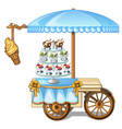 festive table kiosk selling ice cream vector image