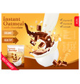 instant oatmeal with chocolate advert concept vector image