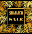 summer sale background with gold palms vector image