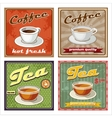 Vintage coffee and tea poster vector image vector image