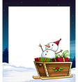 banner and snowman vector image vector image