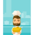 Chef presenting a tasty cooked turkey vector image vector image