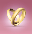 Couple of golden rings over pink vector
