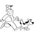 cartoon man walking a dog vector image